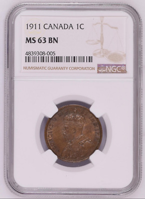 1911 Canada 1C NGC MS 63 BN One Large Cent Free Shipping!