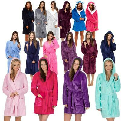 Womens Ladies Dressing Gown Bath Robe Soft Plush Warm House Coat Plus Size S-4XL