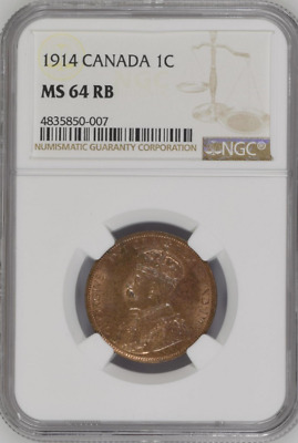1914 Canada 1C NGC MS 64 RB One Large Cent Free Shipping!