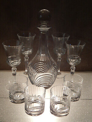 Quality Lead Crystal Decanter Set with 4 Wine glasses & 4 Whiskey Tumblers