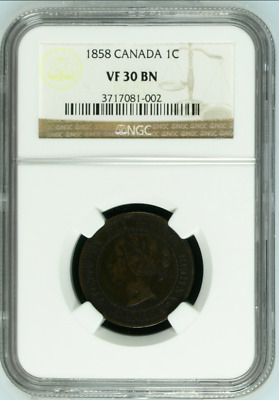 1858 Canada 1C NGC VF 30 BN One Large Cent Free Shipping!