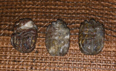 Three (3) Larger Antique Egyptian Carved Pietersite Stone Scarab Beads Pendants