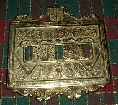 Virginia Metalcrafters 24-26 Brass Ornamental 3 Light Switchplate