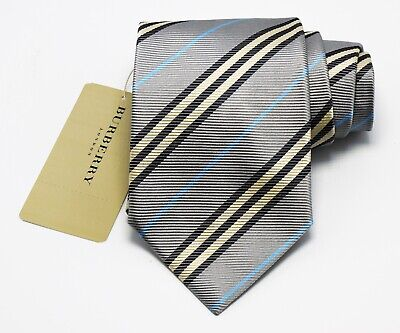 """NEW Burberry GRAY STRIPES Mans 100% Silk Tie Authentic Italy Made 3.5"""" 0350213"""