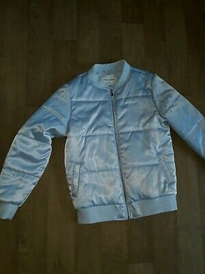 River Island Girls Bomber Grey Quilted Jacket Age 11-12 Years