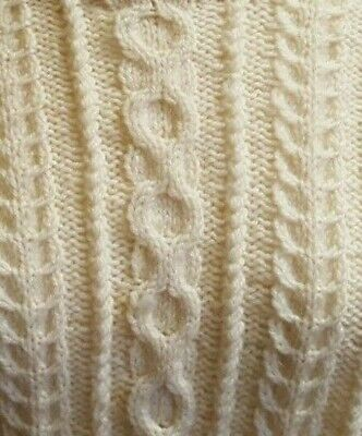 Genuine Hand Knit Aaron Style Wool Jumper Size Large