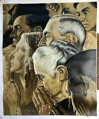 Original Oil Painting on Canvas Many Faces Norman Rockwell