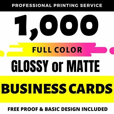 1000 Full Color Custom BUSINESS CARD Printing on 16pt Gloss or Matte Finish