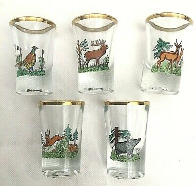 Set of 5 Gold Rimmed Hunters/ Animal Shot Glasses