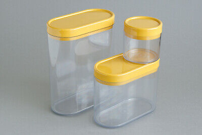 Sarvis yellow modular stacking plastic containers, made in Finland, mid-century