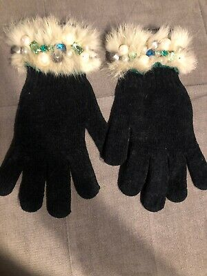 Mitchies Mittens Genuine Green Fur Cuff Black Gloves With Jewels, Size Sm/Med