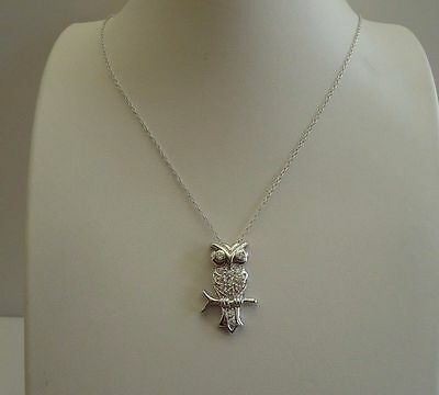 925 Sterling Silver Designers Owl Pendant Necklace W/ 1 Ct Accents/18'' Chain