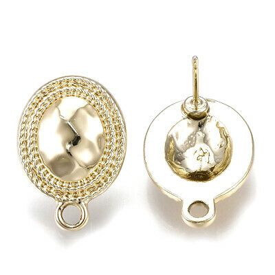 10pcs Alloy Textured Oval Earring Posts Hang Loop Lt. Gold Stud Findings 20x14mm