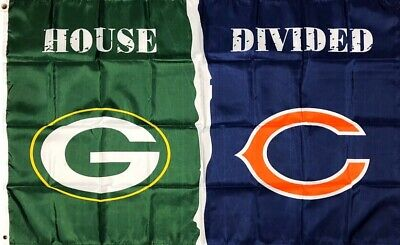 Green Bay Packers vs Chicago Bears House Divided Flag 3x5 ft NFL Sports Banner
