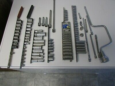 90 Pieces Of Used Hand Tools 1/4 3/8 Drive Sockets, Extensions Sae And Metric