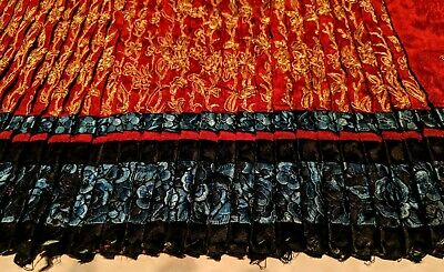 CHINESE VINTAGE ANTIQUE SILK EMBROIDERY Large Unusual Panel, Couched Gold Thread