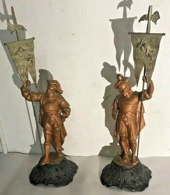 Pair Of Victorian Spelter Figural Clock Toppers