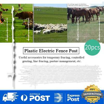 20x Tread In Poly Posts For Electric Fence Wire Tape Insulated Strip Graze Temp