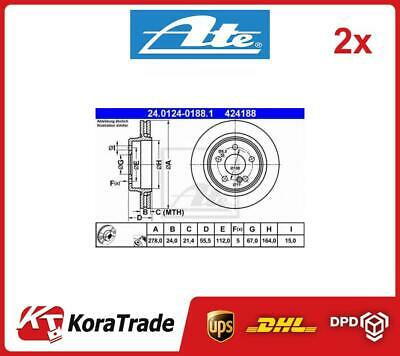 2x 24-0124-0188-1 ATE OE QUALITY BRAKE DISC SET