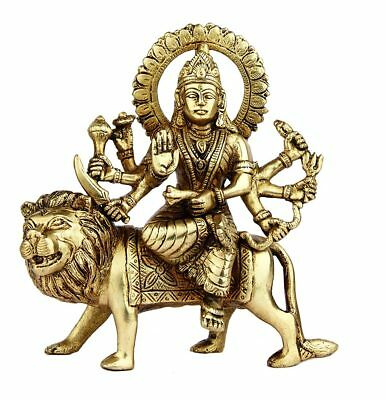 Antique brass hand made hindu goddess religious durga statue idol figure 6""