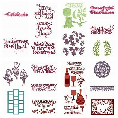 Word Frame Wine Flower Metal Cutting Dies Stencils for DIY Scrapbooking Cards