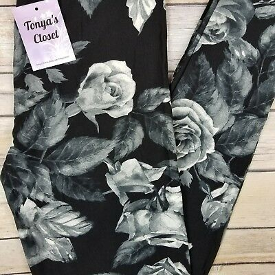 Black Gray Rose Leggings Floral Printed Buttery Soft ONE SIZE OS