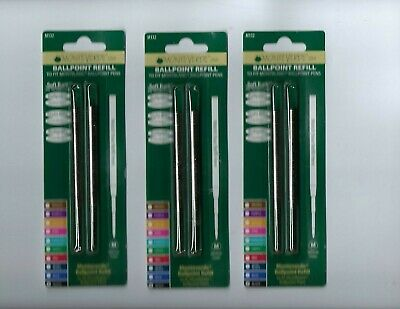 Lot of 3 packages of 2-M132 Black Medium Monteverde Mont Blanc Ballpoint Refills