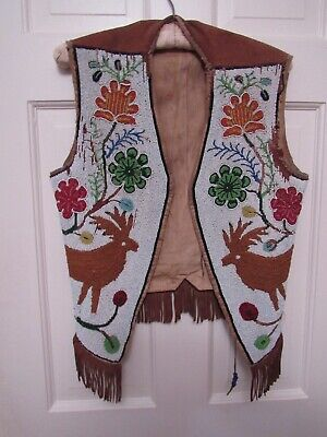 Antique Plains / Native American Beaded Vest w.Elk and Floral Theme about 1910?
