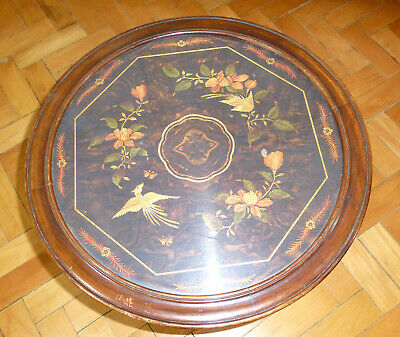 Table Top Wooden Plaque with Inlaid France um 1900