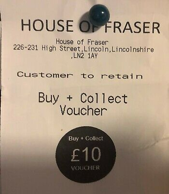 HOUSE OF FRASER £10  Voucher, Valid till November 2021