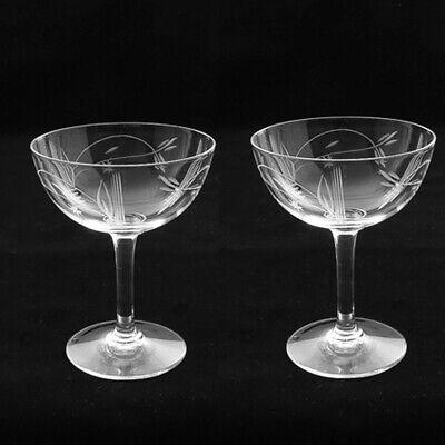 Pair Art Deco Hand Engraved Champagne Glass Coupes, Ca 1930