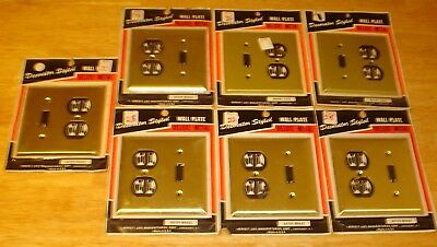 Vintage Lot (7) NOS Sealed Deluxe Metal Switch Plate / Outlet Covers Satin Brass
