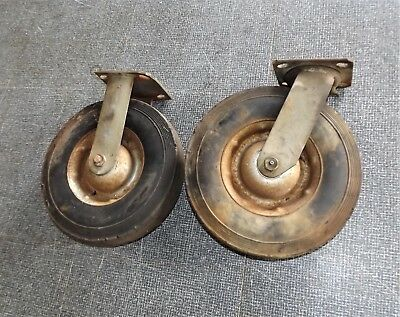 """2 Vintage 10"""" dia. Dolly Wheels, 2.5"""" wide, 1 Swivels, Greasable, 4.5 X 4"""" plate"""