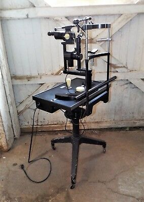 Vintage Carl Zeiss Slit Lamp Biomicroscope and OptometristsTable, Steampunk, Ind