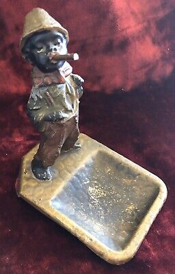 """Negro""""Snazzy Cigar Smoking Dude""""Ashtray Austrian Cold Painted,Afro-American"""