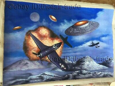 Hand Painted Oil Painting World War 2 UFO Attack Earth Fight In Sky War Battle