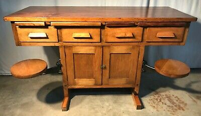 Antique Industrial Maple  Lab. and/or work table with swing out seats / stools