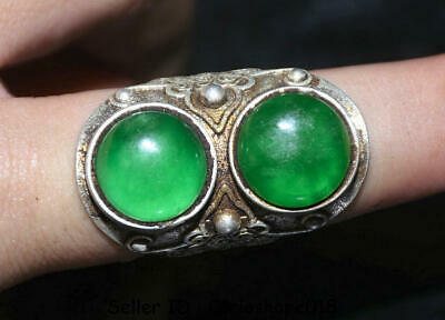 "1.6"" Old Chinese Dynasty Palace Silver inlay Green Jade Gem Jewelry ring Rings"