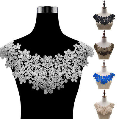 Women High Quality Lace Fabric Embroidered Applique Neckline For DIY Dresses New