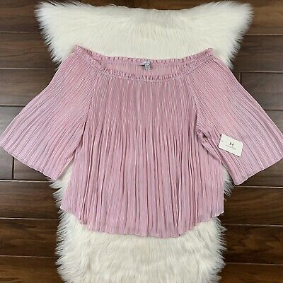 H by HALSTON Women's Size XL Pink White Stripe Pleated Off Shoulder Blouse Top