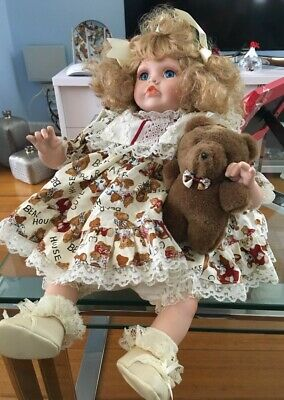 As New approx 32 cm Heritage Heirloom Musical Blonde Collectable doll with Teddy