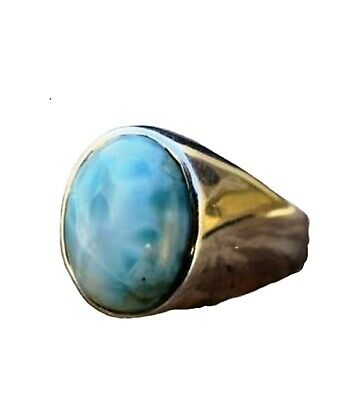 Larimar Natural Gemstone Ring Solid 925 Silver Handmade Fine Jewelry