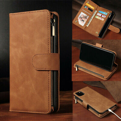 Leather Zip Wallet Card Slot Coin Purse Flip Phone Case Cover For iPhone 11 XR 8