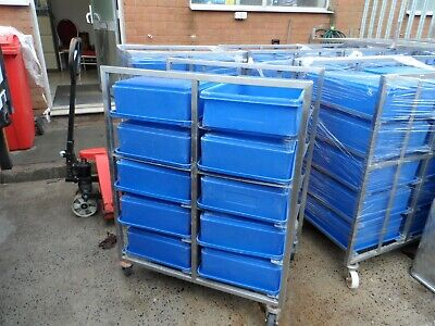 Stainless Steel 600 x 400 mm Rack Trolley 10 Runner with 10 Boxes £150 + Vat