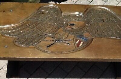 Vintage Wood Table American Eagle Hand Carved Folk Art Hand Painted 1960's