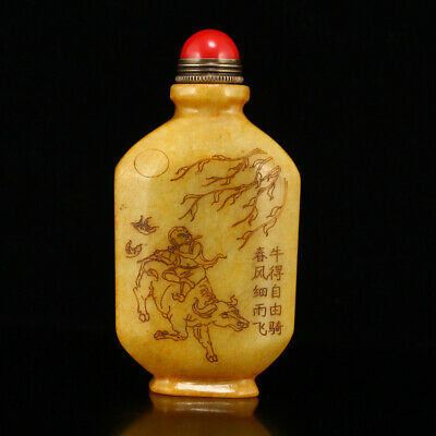Chinese Natural old antique hetian jade carved Children cattle ox Snuff Bottle