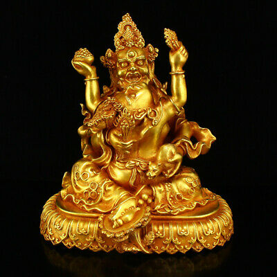 Chinese old Qing Dynasty bronze gilt Temple Tibetan Buddhism Buddha statue