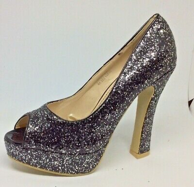 Catisa Black Silver Party Glitter 5 in High Platform peep toe  shoes Size 6 HL