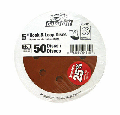 Gator 5 in. Aluminum Oxide Hook and Loop Sanding Disc 220 Grit Extra Fine 50 pk