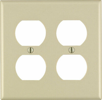 Leviton  Ivory  2 gang Plastic  Duplex Outlet  Wall Plate  - Case Pack of 100